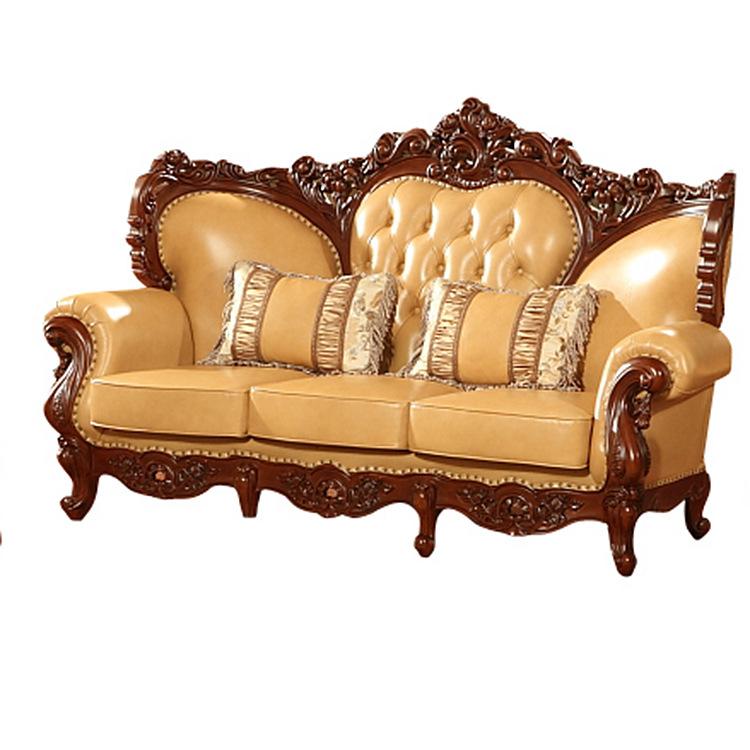 新款欧式真皮沙发 头层牛皮沙发 欧式实木沙发厂家定做可批发图片