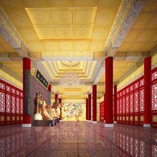 佛堂天花板寺庙吊顶室内装修中式装饰