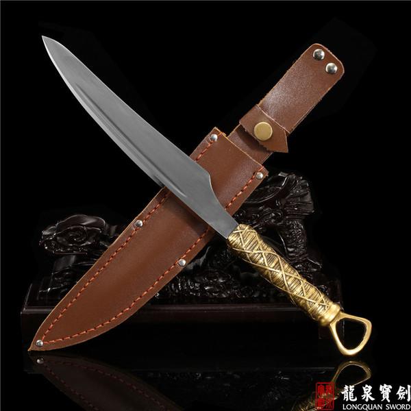 龙泉宝剑 精品短刀 手工百炼花纹钢烧刃 锰钢--螟 开刃
