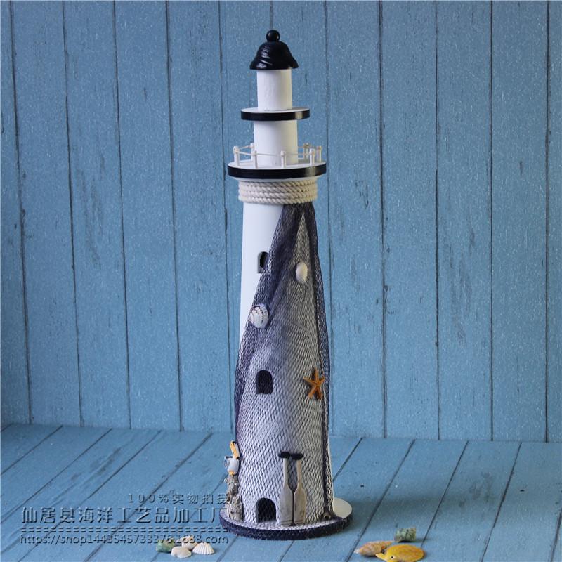 地中海风格创意实木质工艺品灯塔 做旧手工制作大中小号家居摆件图片