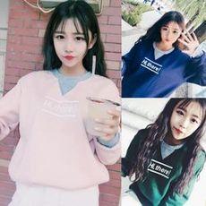 新款拼色毛衣女宽松冬季韩版半高领短款套头学生上衣加厚秋冬女装