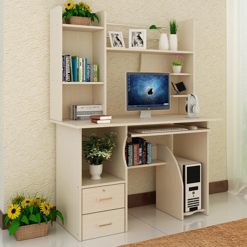 【厂家直销】简易台式电脑桌简约台式桌子家用写字台带书柜组合桌