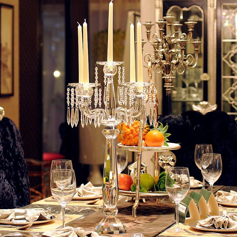高档婚庆水晶五头烛台气氛布置道具摆件婚庆用品