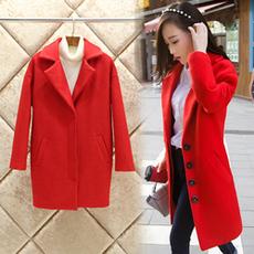 秋冬装2015新款外套韩版女装呢大衣修身中款毛呢外套大码女装红色