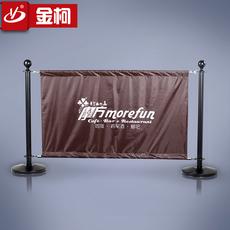 供应金柯咖啡店广告布 广告隔离墩 黑色广告布围栏 可移动护栏 加logo 警戒栏