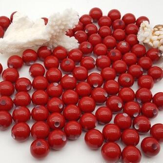 供应 红珍珠贝珠半洞大孔珠饰品散珠配件