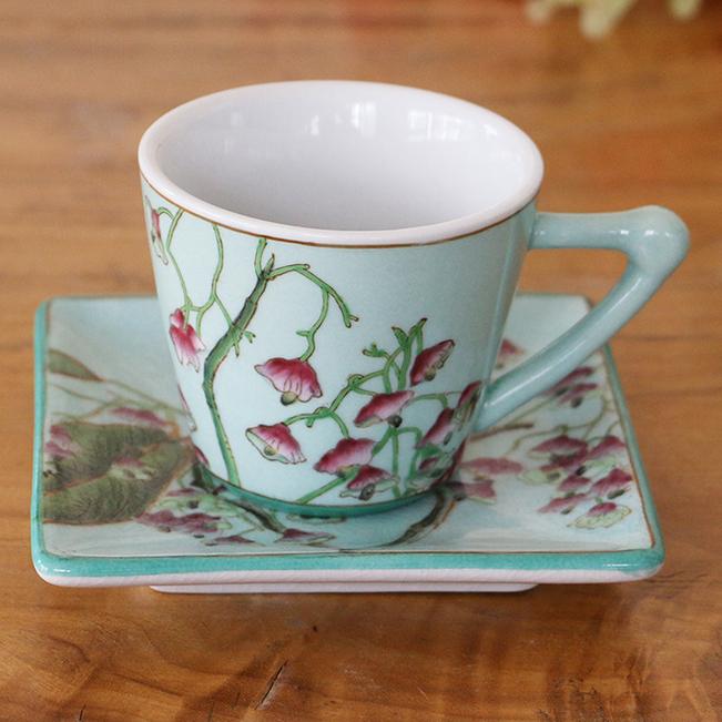 供应新款个性手工彩绘陶瓷咖啡套装二件套新中式商务陶瓷小茶杯小圆杯