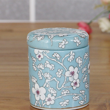 供应新中式现代纯手工彩绘陶瓷茶叶罐家居通用冰裂釉密封陶罐工厂批发
