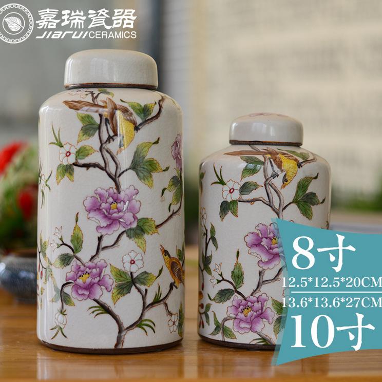 供应庐陵手绘瓷新中式古典陶瓷花瓶摆件彩绘家居装饰陶器茶叶罐工艺品