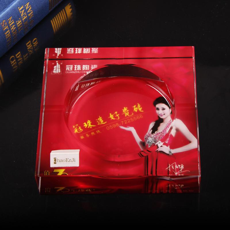水晶烟灰缸冠珠陶瓷定制 创意彩印 广告创意礼品烟灰缸