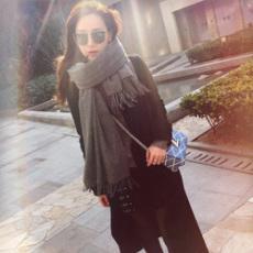 韩版纯色羊绒围巾女冬季超大披肩两用长款春秋冬天加厚学生围脖