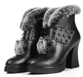 欧洲站女靴 2014新 真皮圆头粗高跟马丁靴子 短靴