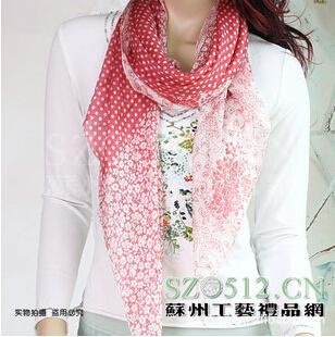100%桑蚕丝 真丝长巾 女士围巾丝巾可做披肩 菱形设计 sc614