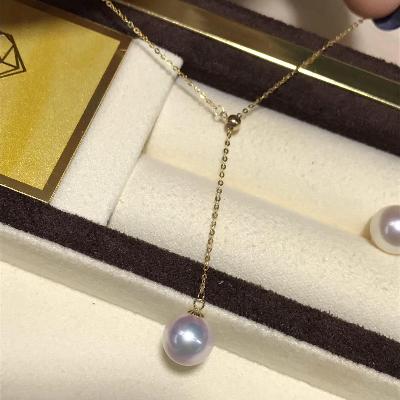 天女海水珍珠吊墜 強光紅粉無瑕  直徑8.5mm