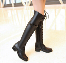 批发欧美真皮女鞋子时尚方跟侧拉链2014年秋冬新款长筒骑士靴女