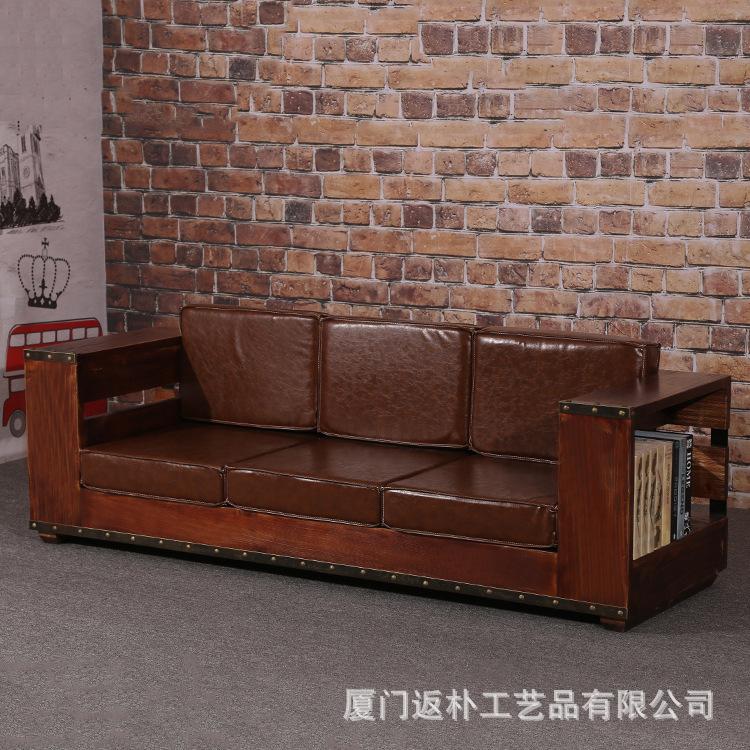 美式创意沙发 复古单双三人沙发椅客厅休闲实木真皮懒人沙发定制