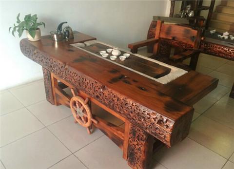 万达船木家具厂长期生产销售老船木家具茶桌