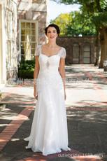 咖啼婚纱礼服 蕾丝包肩短袖钉珠齐地雪纺婚纱 性感高尚显瘦婚纱