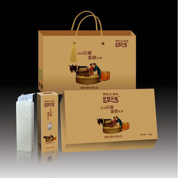 厂家直供原阳大米 古法石碾富硒大米 伊尊佳福礼盒包装