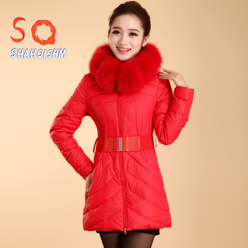 SQ2014新款韩版修身高端羽绒服狐狸毛领修身时尚中长款外套