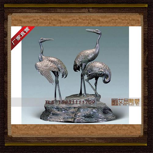 铸铜仙鹤雕塑 吉祥铜鹤加工 景观铜雕塑 动物铜雕厂家