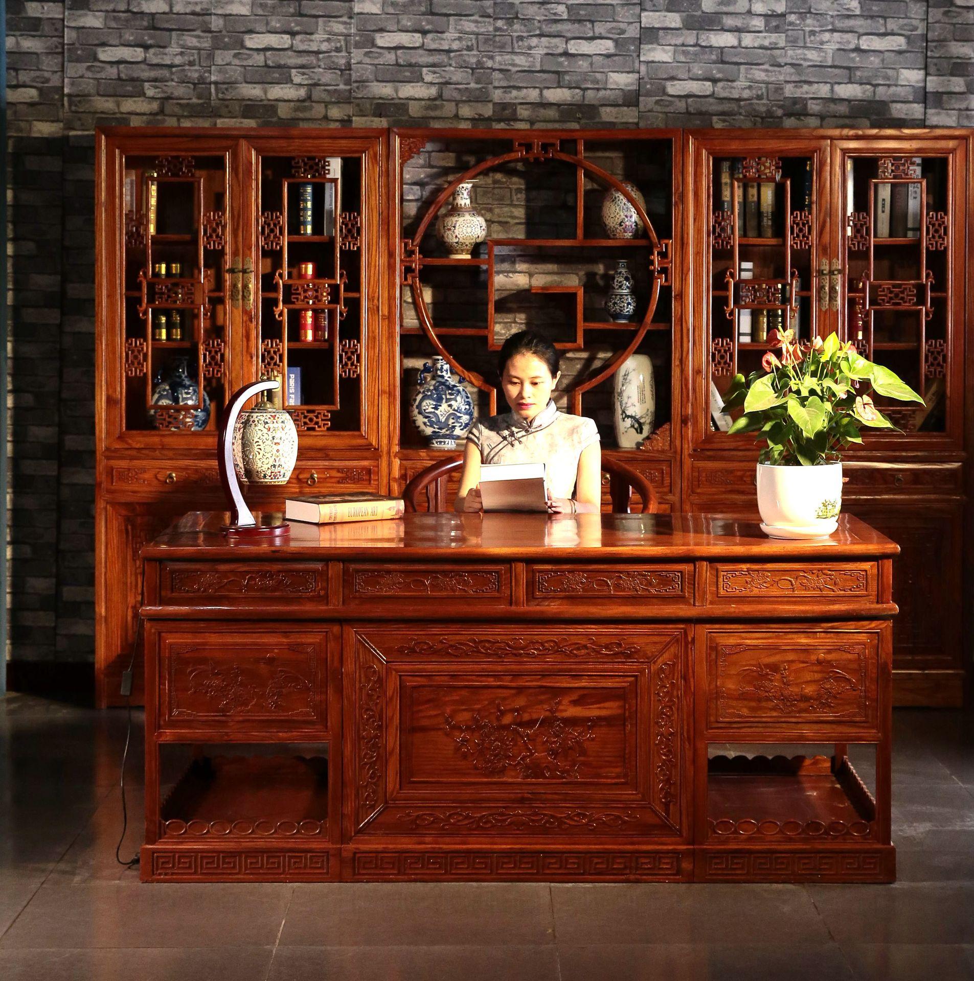 明清家具書桌辦公桌 仿古中式實木榆木 大班臺寫字臺書柜組合圖片