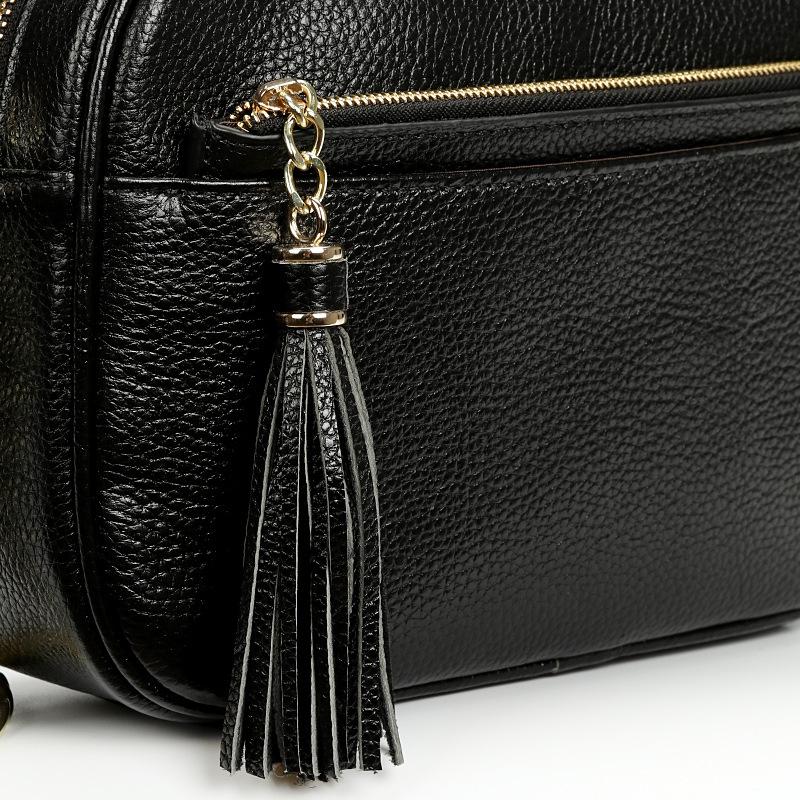方月2016夏季新款欧美简约流苏真皮单肩斜跨女包包小方包链条gps屏蔽箱