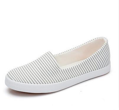 女士韩版潮条纹浅口懒人鞋女低帮鞋平底女生布鞋女鞋