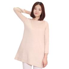 思谛浦晟女士中长款九分袖绞花纯色羊绒衫春秋冬季必备