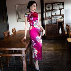 中国风长款修身改良时尚真丝旗袍裙礼服批发杭州女式日常唐装旗袍