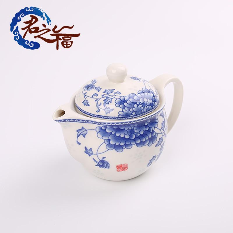 君之福陶瓷 带过滤网茶壶 青花瓷功夫茶具热水泡茶器大号定制批发