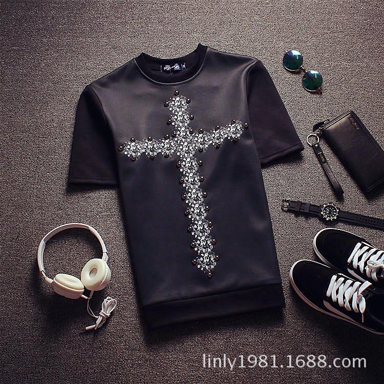 夏装欧美大牌走秀款太空棉T恤男柳钉十字架个性短袖T恤潮牌半袖