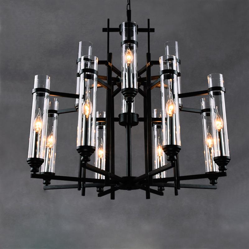 一件代发北欧宜家铁艺吊灯LOFT咖啡馆个性艺术吸顶灯创意玻璃灯饰