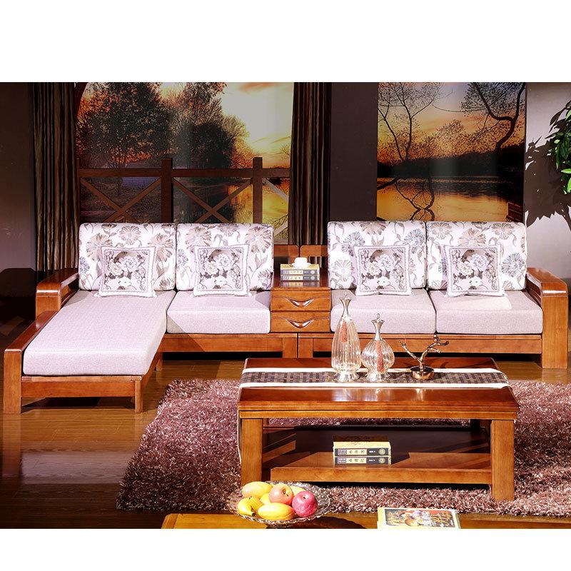 实木沙发 新中式沙发橡木实木家具组合 贵妃转角沙发图片