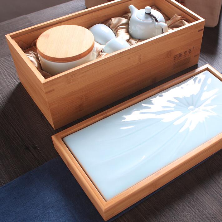 青瓷旅行茶具套装 便携包竹制收纳盒 陶瓷茶盘 批发可定制印LOGO