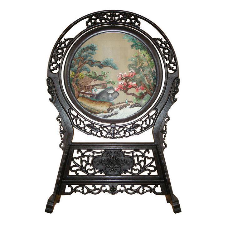 古典山水手工刺绣家居摆件 古典精美双面绣屏风工艺品