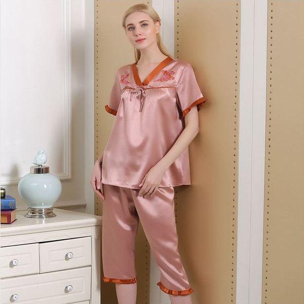 新款性感舒适女士春夏季真丝睡衣套装100%桑蚕丝 睡衣女