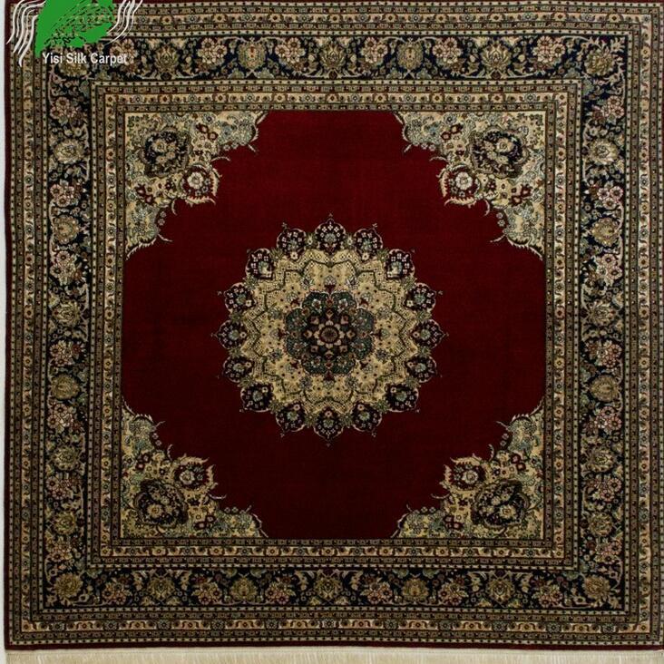 欧式古典亿丝红色工艺品高道数收藏方毯手工真丝地毯