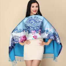 真丝围巾女 中国风秋冬季真丝双层保暖拉绒丝巾披肩礼品厂家批发
