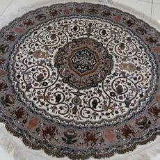 4×4英尺-122×122直径圆形真丝地毯批发 亿丝东方丝毯厂
