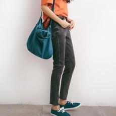 夏季高腰弹力牛仔裤女韩版修身小脚裤九分裤显瘦百搭铅笔裤