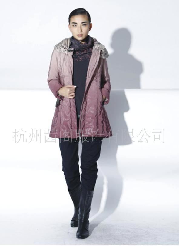 茜阁厂家直销红色 灰色长款时尚羽绒服