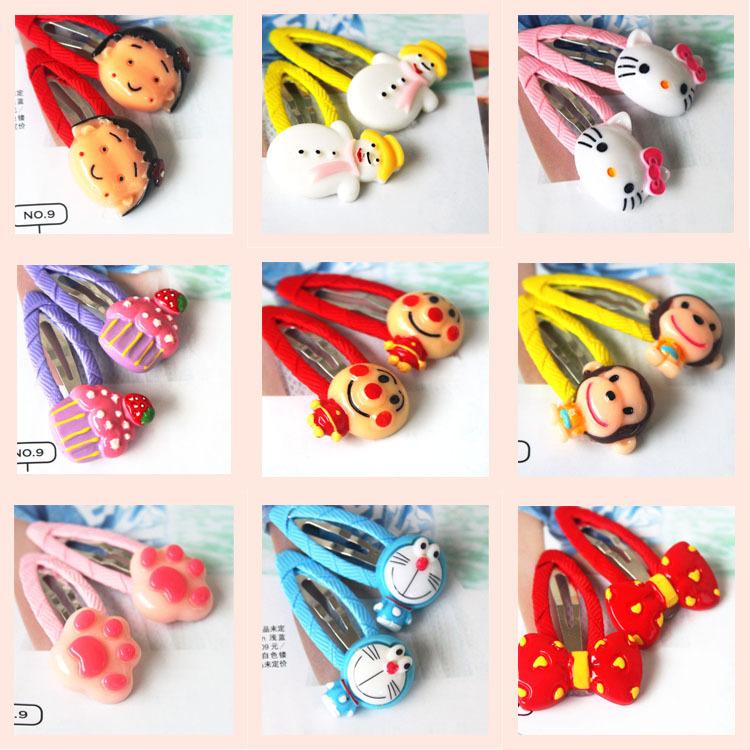 82-02 儿童饰品厂家批发货源 卡通可爱动物对夹童bb夹 布艺小发夹