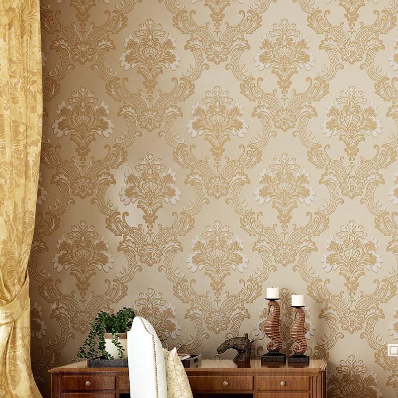 简约无纺布墙纸 卧室客厅电视背景墙壁纸 欧式墙纸大马士革 .