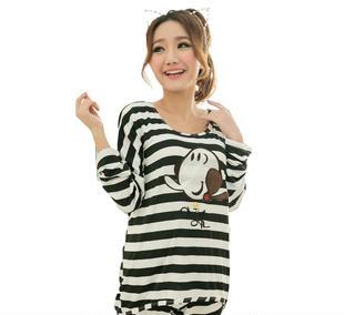 宅美美)新款春夏条纹莫代尔七分袖奥利弗可爱少女睡衣套装 黑条