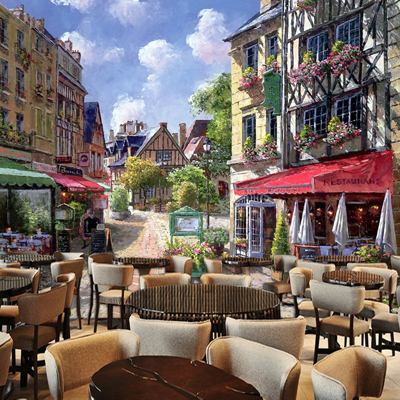 3d立体欧洲小镇风景建筑咖啡馆西餐厅酒店背景墙纸壁纸无纺布壁画