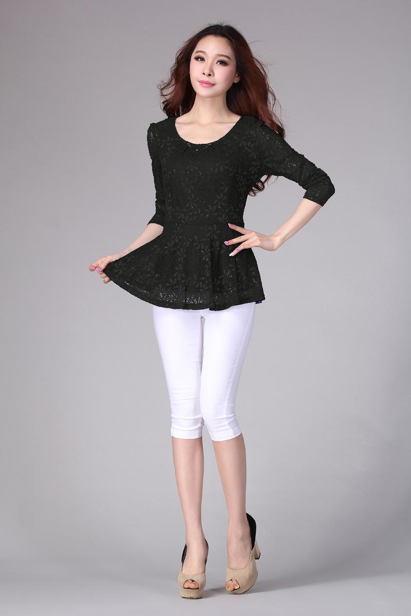 加大码女装胖mm显瘦弹力蕾丝打底衫 时尚优雅宽松t恤长袖