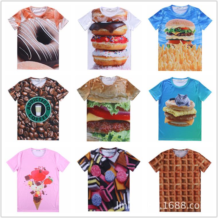 原宿风TEE 数码印花 3D短t Hamburger 汉堡 甜甜圈短袖潮创意t恤