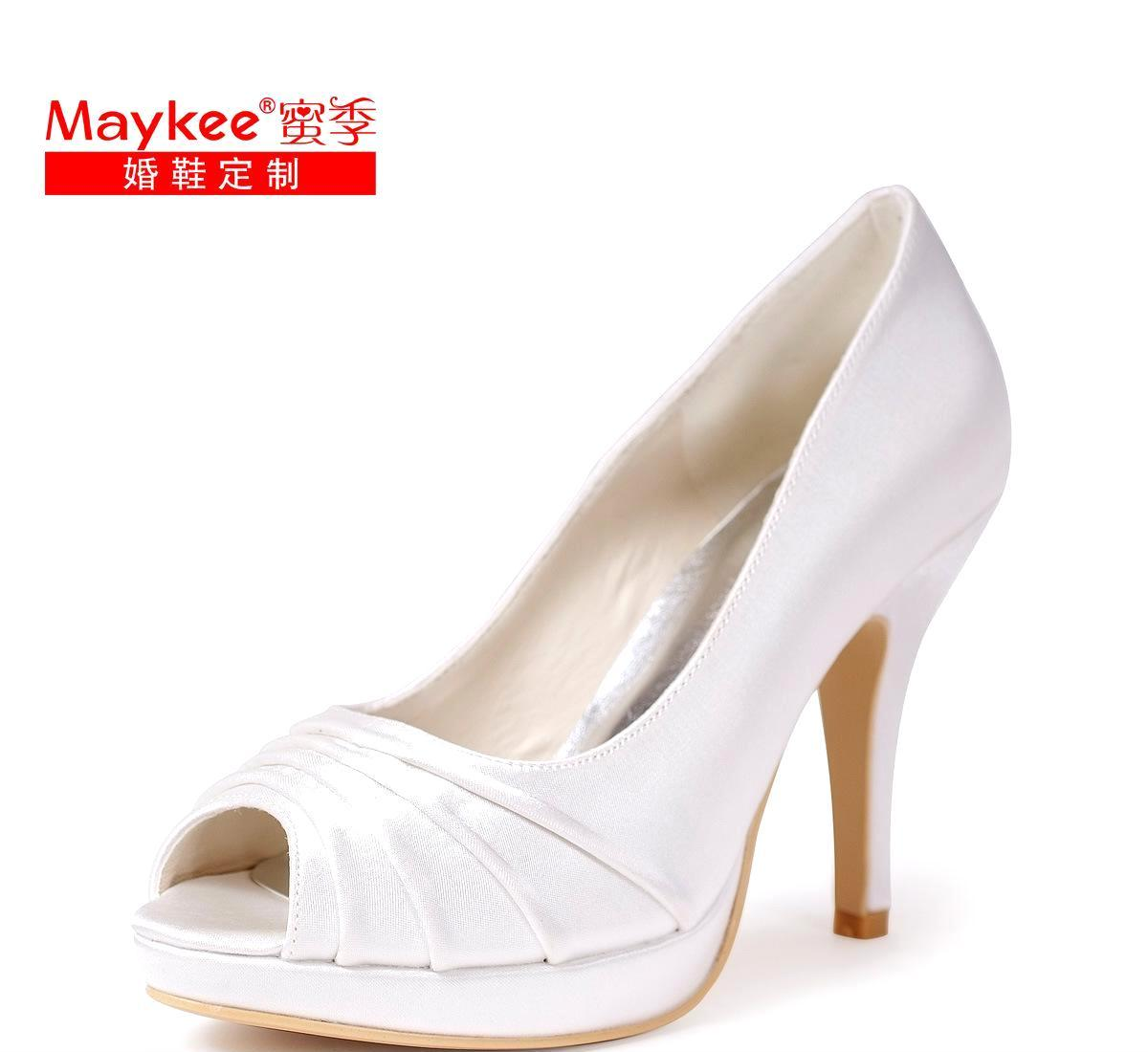 Maykee蜜季新款细跟沙丁布白色婚婚纱鞋宴会鞋爆款