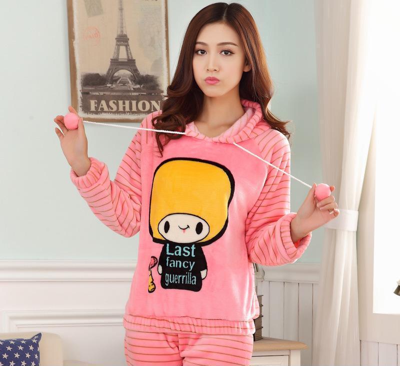 法兰绒韩国女士睡衣pink长袖批发秋冬季珊瑚绒加厚女家居服套装